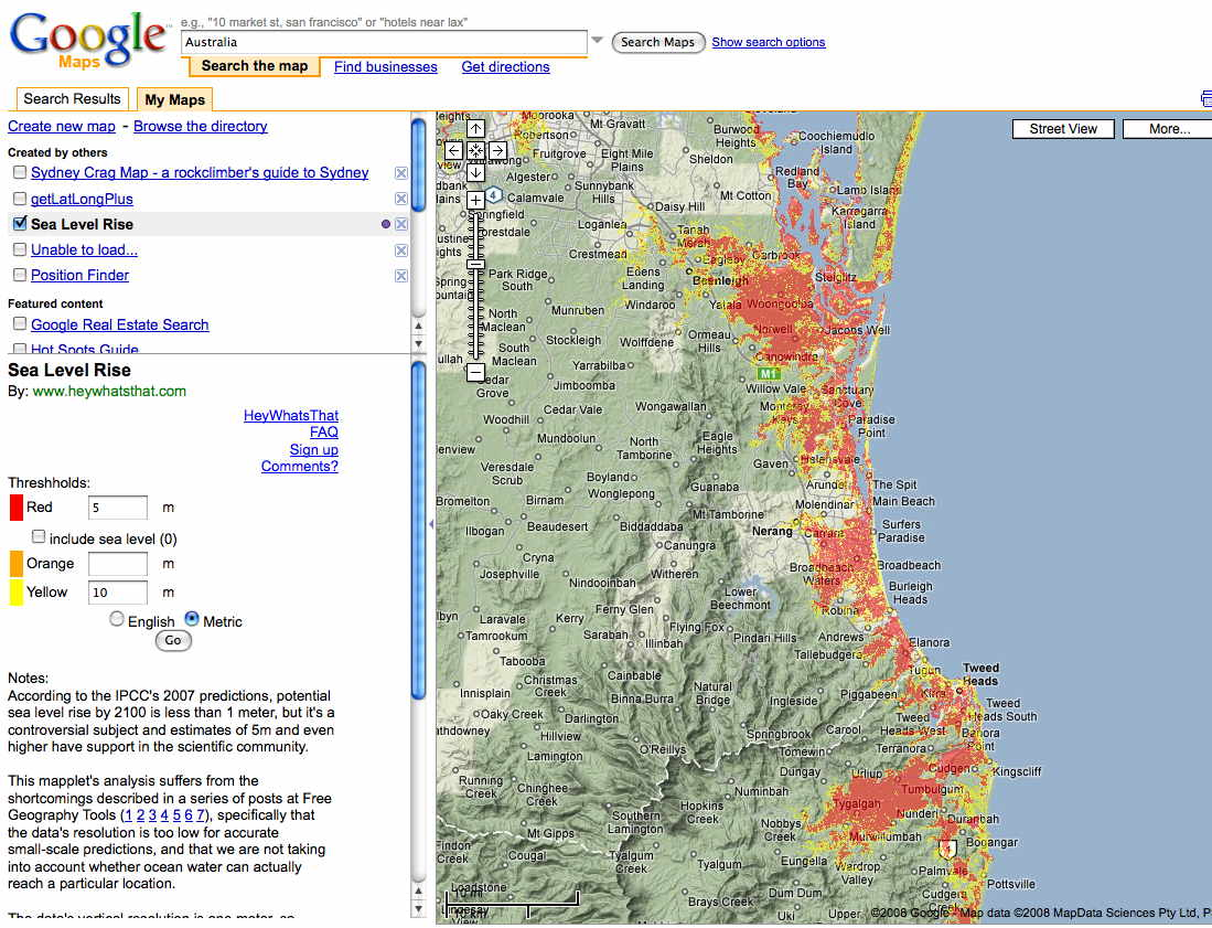 Tsunami Hazard to Coastal Populations – Gold Coast Australia Map